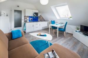 Wohnraum mit integrierte Küchenzeile
